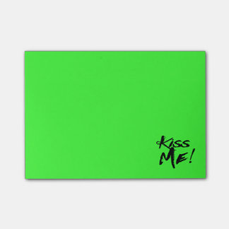 Neon Lime Green Kiss Me Love - Wedding, Engagement Post-it Notes