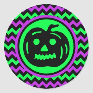 Neon lime green purple black chevron halloween round sticker