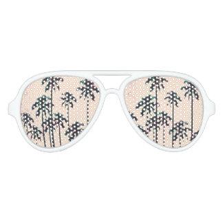 Neon Lined Black Palm Trees on Peach Horizon Aviator Sunglasses