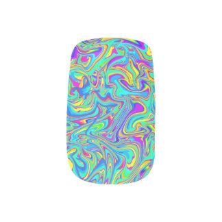 Neon Liquid Wet Paint Swirls Minx Nail Art
