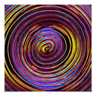 Neon Lit Glass Spiral Poster