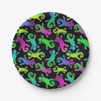 Neon Lizard and Leaf Pattern 7 Inch Paper Plate