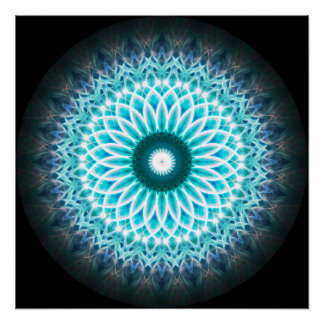 Neon Lotus Mandala Ball Poster