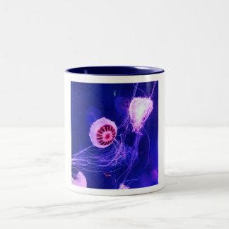 Neon Luminous Jellyfish Two-Tone Coffee Mug