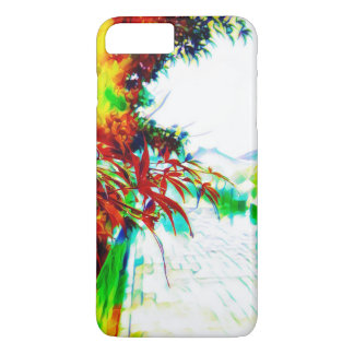 Neon maple leaves in the rain Case-Mate iPhone case