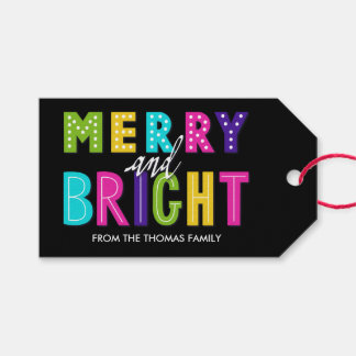 Neon Merry and Bright Gift Tags