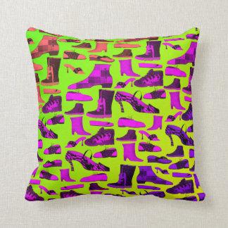 Neon Modern Retro Shoes Cartoon Funny Chic Unique Throw Pillow