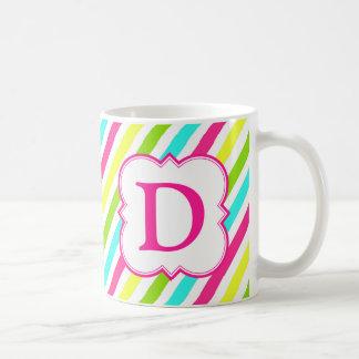 Neon Monogram Striped Coffee Mug
