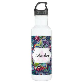 Neon Multicolor floral Paisley pattern 710 Ml Water Bottle