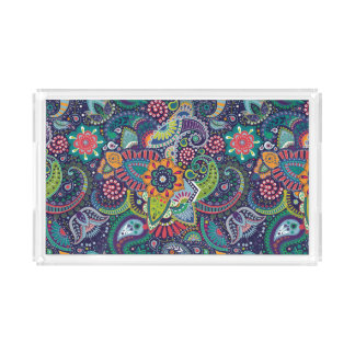 Neon Multicolor floral Paisley pattern Acrylic Tray