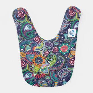 Neon Multicolor floral Paisley pattern Bib
