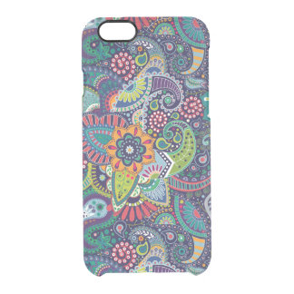 Neon Multicolor floral Paisley pattern Clear iPhone 6/6S Case