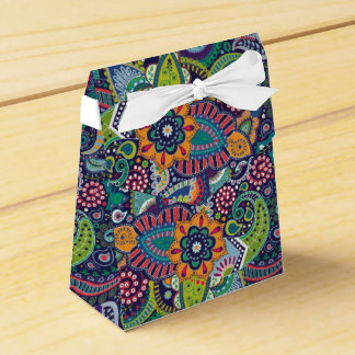 Neon Multicolor floral Paisley pattern Favor Box