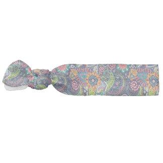 Neon Multicolor floral Paisley pattern Hair Tie