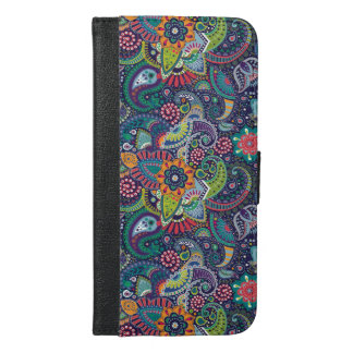 Neon Multicolor floral Paisley pattern iPhone 6/6s Plus Wallet Case