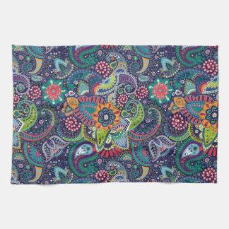 Neon Multicolor floral Paisley pattern Kitchen Towel