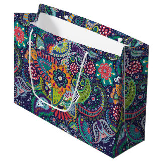 Neon Multicolor floral Paisley pattern Large Gift Bag