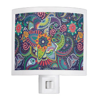 Neon Multicolor floral Paisley pattern Night Light