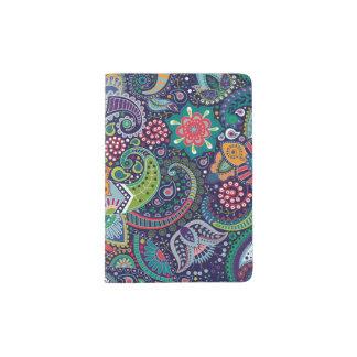 Neon Multicolor floral Paisley pattern Passport Holder