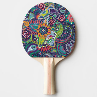 Neon Multicolor floral Paisley pattern Ping Pong Paddle