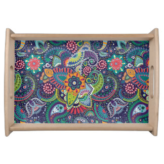 Neon Multicolor floral Paisley pattern Serving Tray