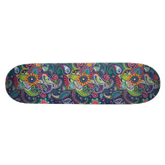 Neon Multicolor floral Paisley pattern Skateboard