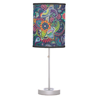 Neon Multicolor floral Paisley pattern Table Lamp