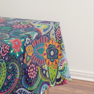 Neon Multicolor floral Paisley pattern Tablecloth
