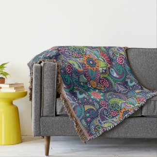 Neon Multicolor floral Paisley pattern Throw Blanket