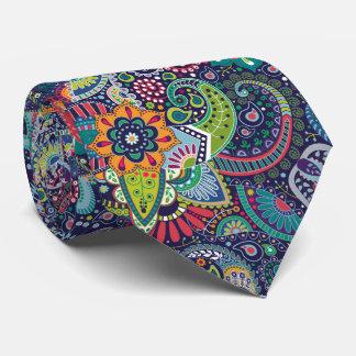 Neon Multicolor floral Paisley pattern Tie