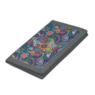 Neon Multicolor floral Paisley pattern Tri-fold Wallet