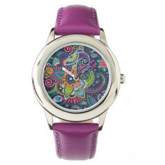 Neon Multicolor floral Paisley pattern Wristwatch