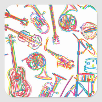 Neon Music Pattern Square Sticker