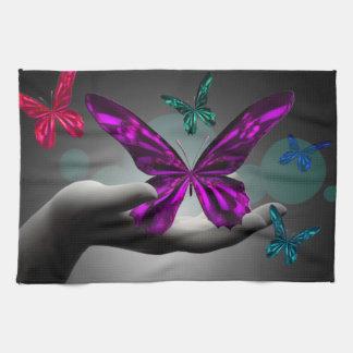 Neon Mystic Butterflies Hand Towels