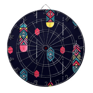Neon Native American Feathers pattern Dartboard With Darts