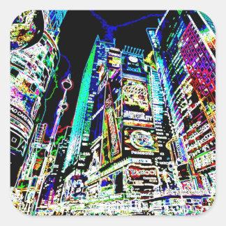 Neon New York City Square Sticker