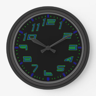 Neon Nights Blue and Green Large Clock