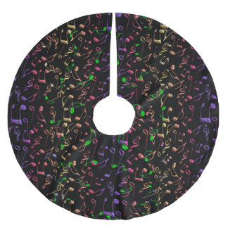 Neon Notes ~ Psychedelic Music Notes Brushed Polyester Tree Skirt
