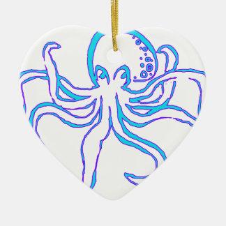 Neon Octopus Ceramic Ornament