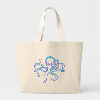 Neon Octopus Large Tote Bag