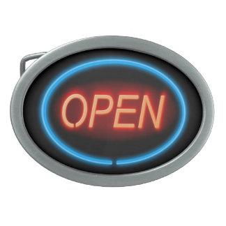 Neon open sign. oval belt buckle