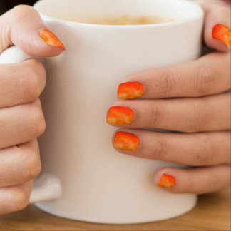 Neon Orange Fire Glow Look Customizable Shields Nails Stickers