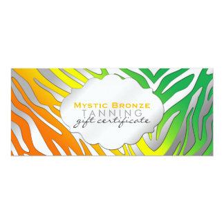 "Neon Orange & Green Zebra Print Gift Certificates 4"" X 9.25"" Invitation Card"
