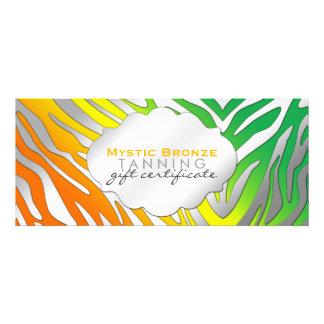 Neon Orange & Green Zebra Print Gift Certificates Custom Announcements