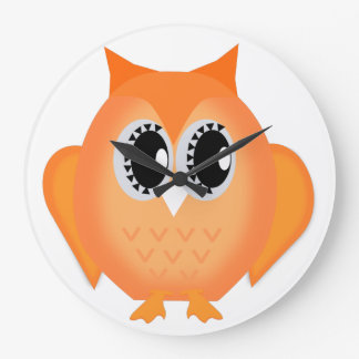 Neon Orange Hootie Hoot Owl Clock