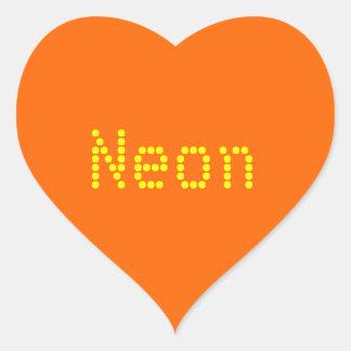 neon  orange solid color heart sticker