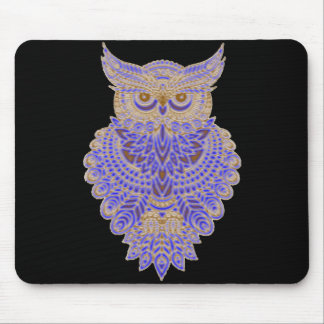 Neon Owl Mouse Pad