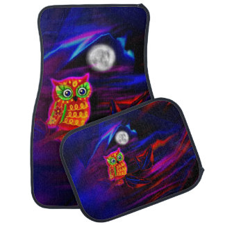 Neon Owl Thunderstorm Flash Car Mats Set
