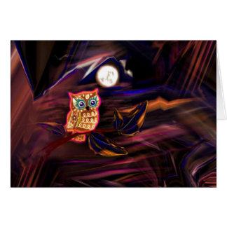 Neon Owl Thunderstorm Flash Fantasia Card