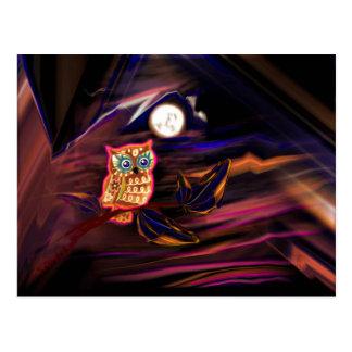 Neon Owl Thunderstorm Flash Fantasia Postcard